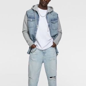 Zara men hooded light blue denim shirt